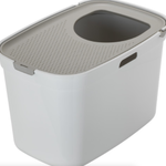 Moderna Litter box-Top Cat-White with Warm Grey Lid