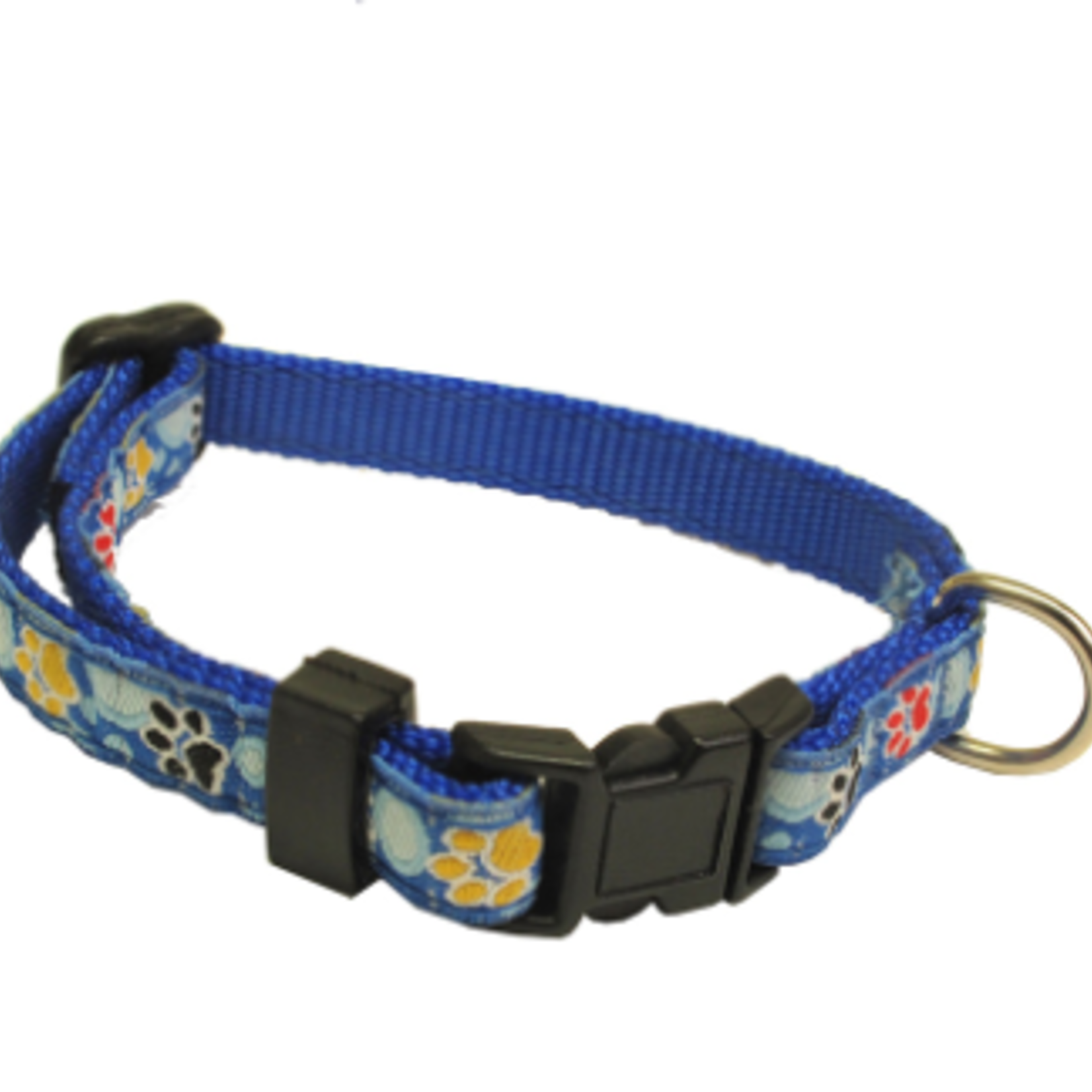 Hunter Brand Security Adjustable collar-from 8 to 11 in-blue paws