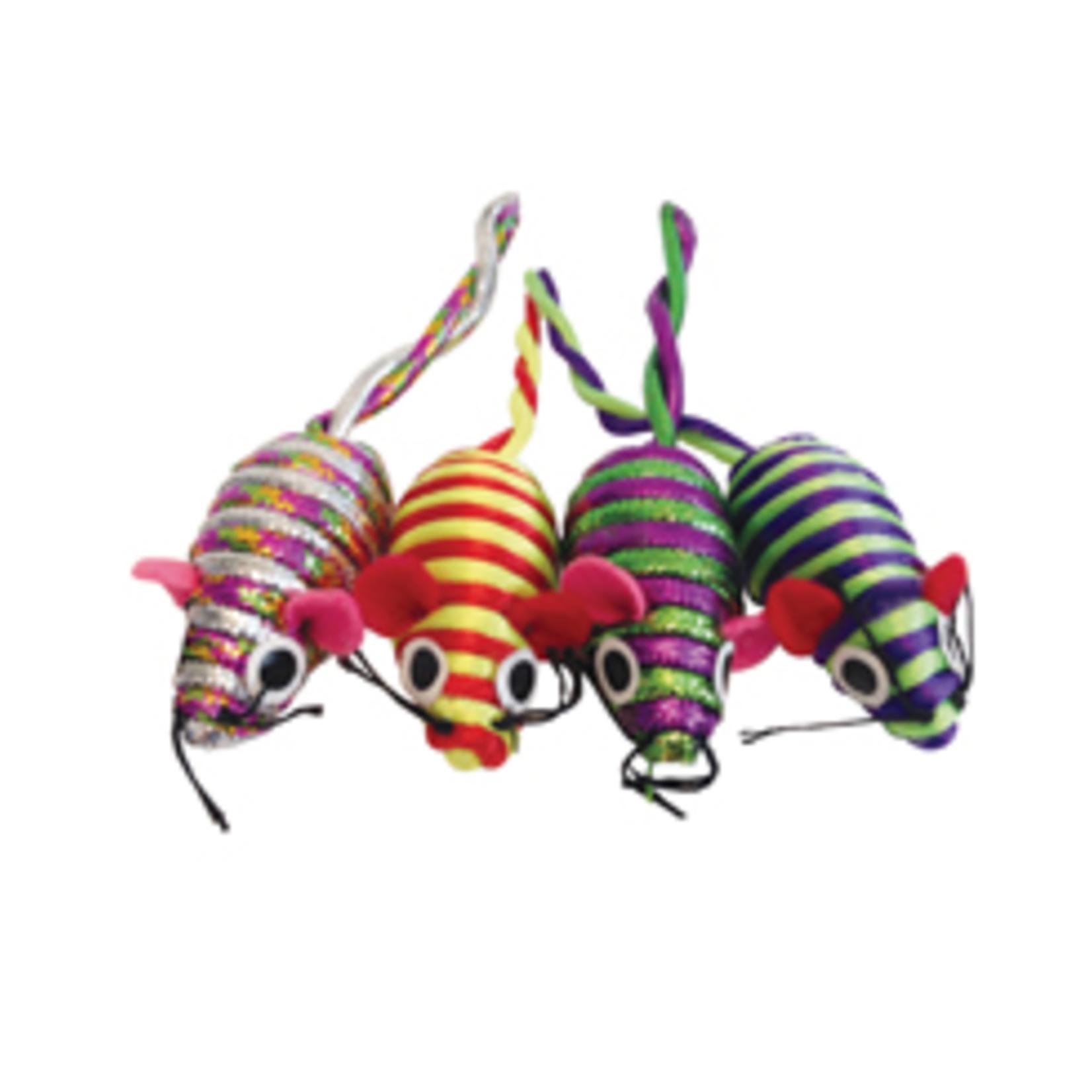 Cat Love Glitter Stripe Catnip Mice - 4 pieces included