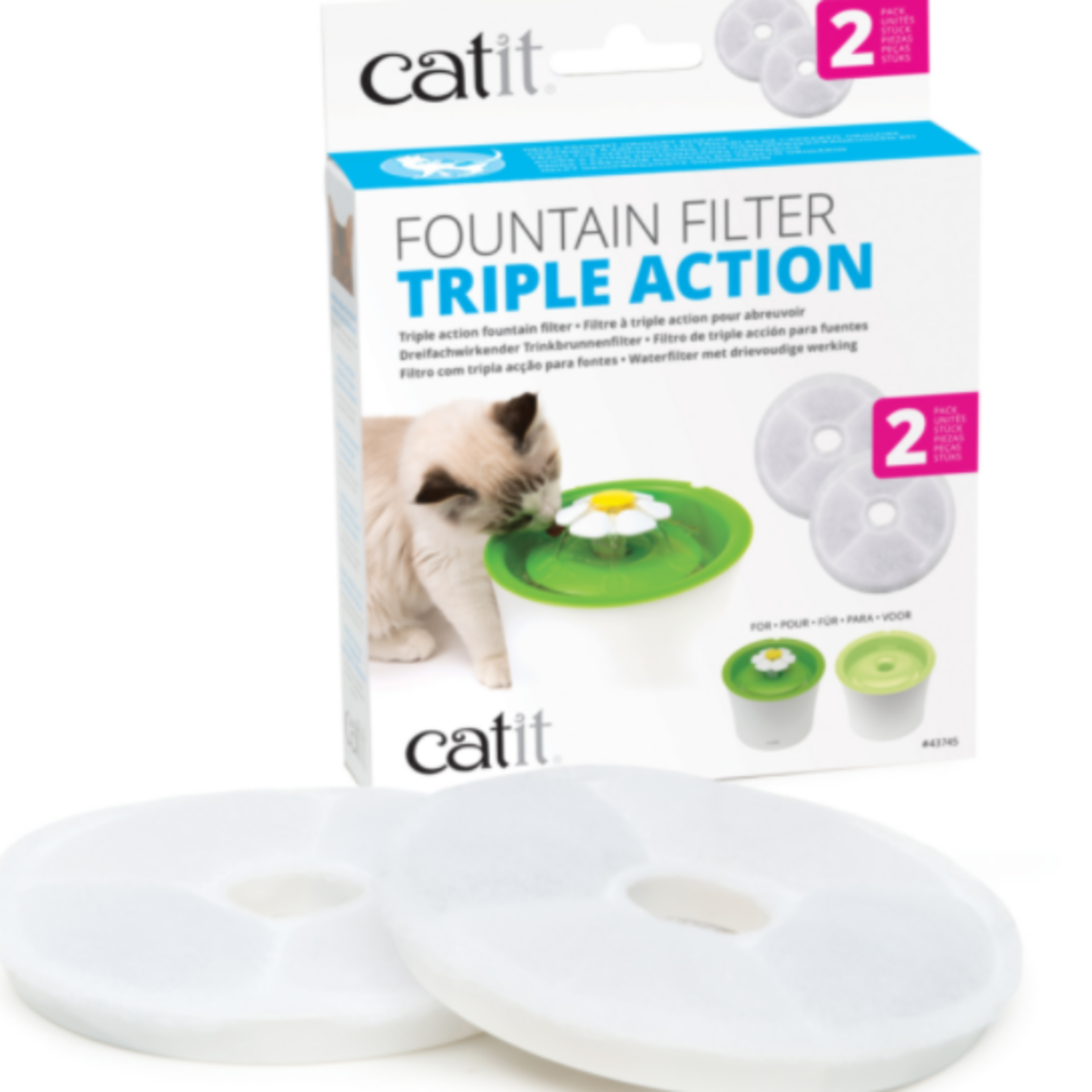 Catit Triple Action Fountain Filter - 2 pack