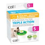 Catit Filtre pour fontaine à triple action - Paquet de 5