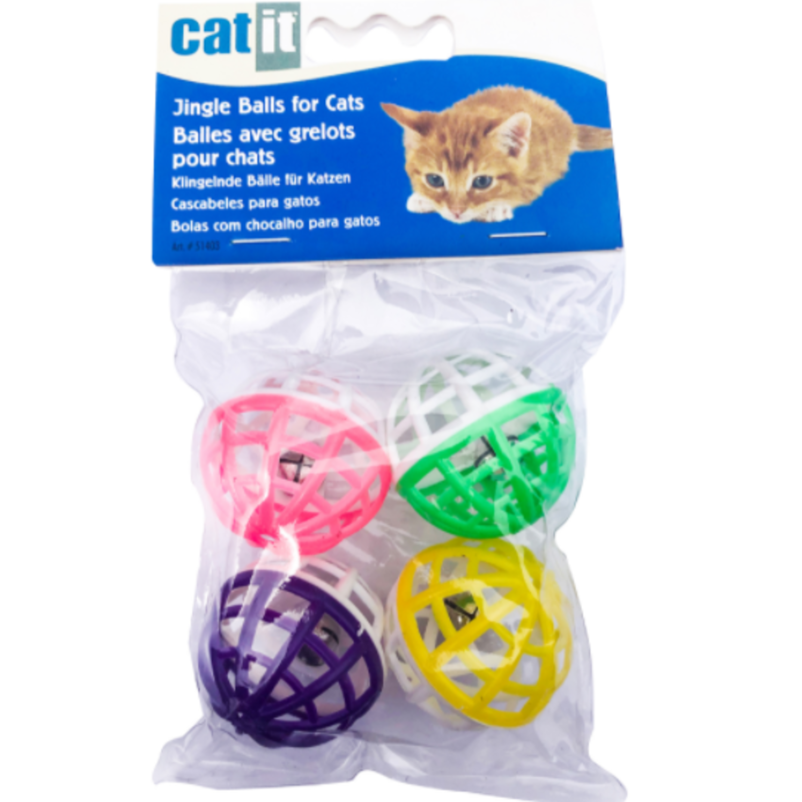 Catit Krazy Rollers Cat Toy - Jingle Balls - 4 pieces