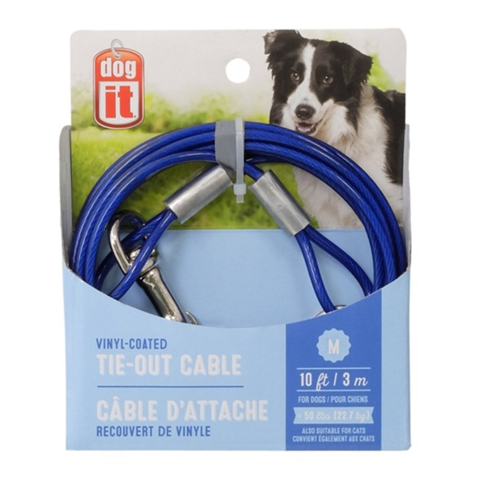 Dogit Tie-Out Cable - Blue - Medium - (10 ft)