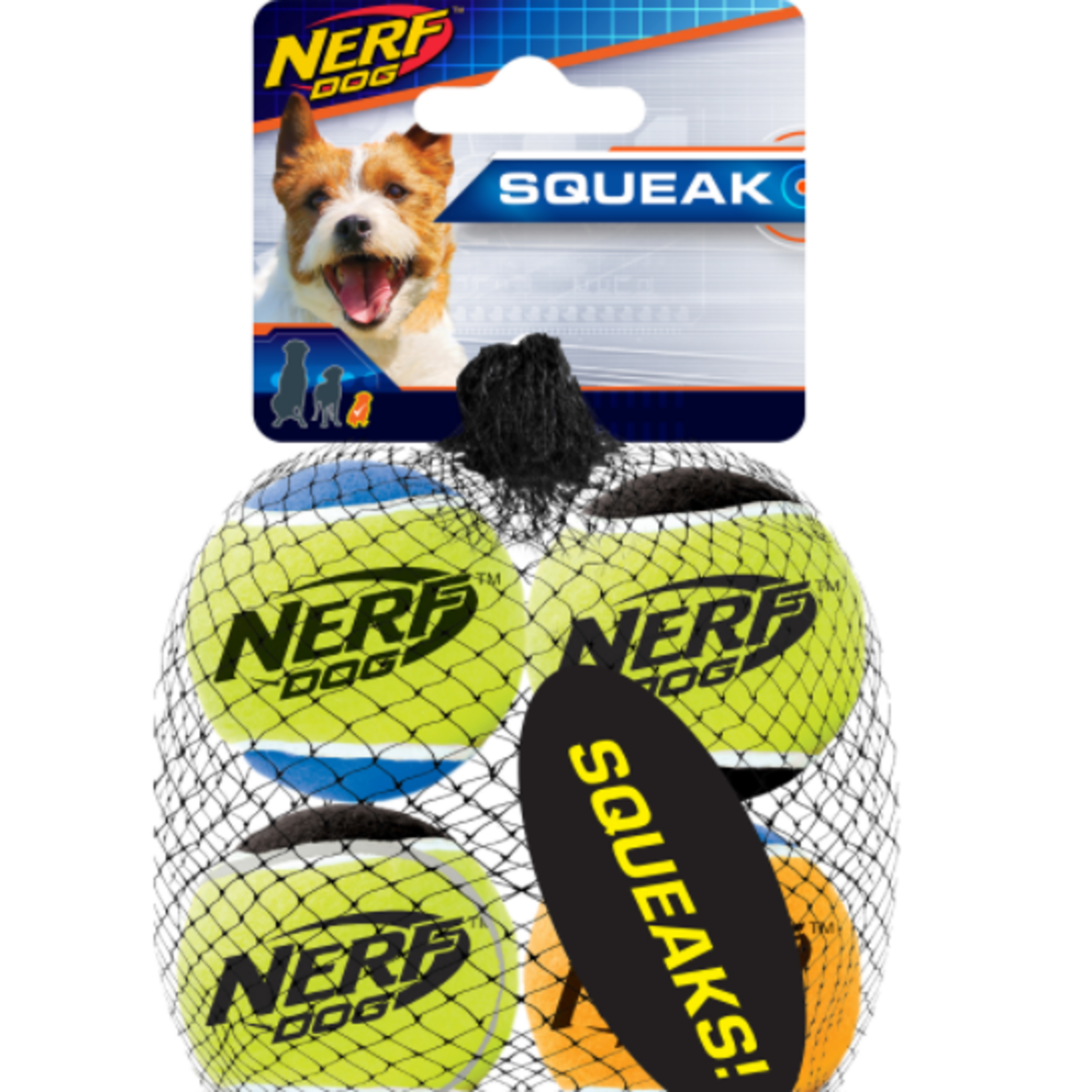 Nerf Squeak Tennis Balls - 4 Pack - XSmall - 4.4 cm
