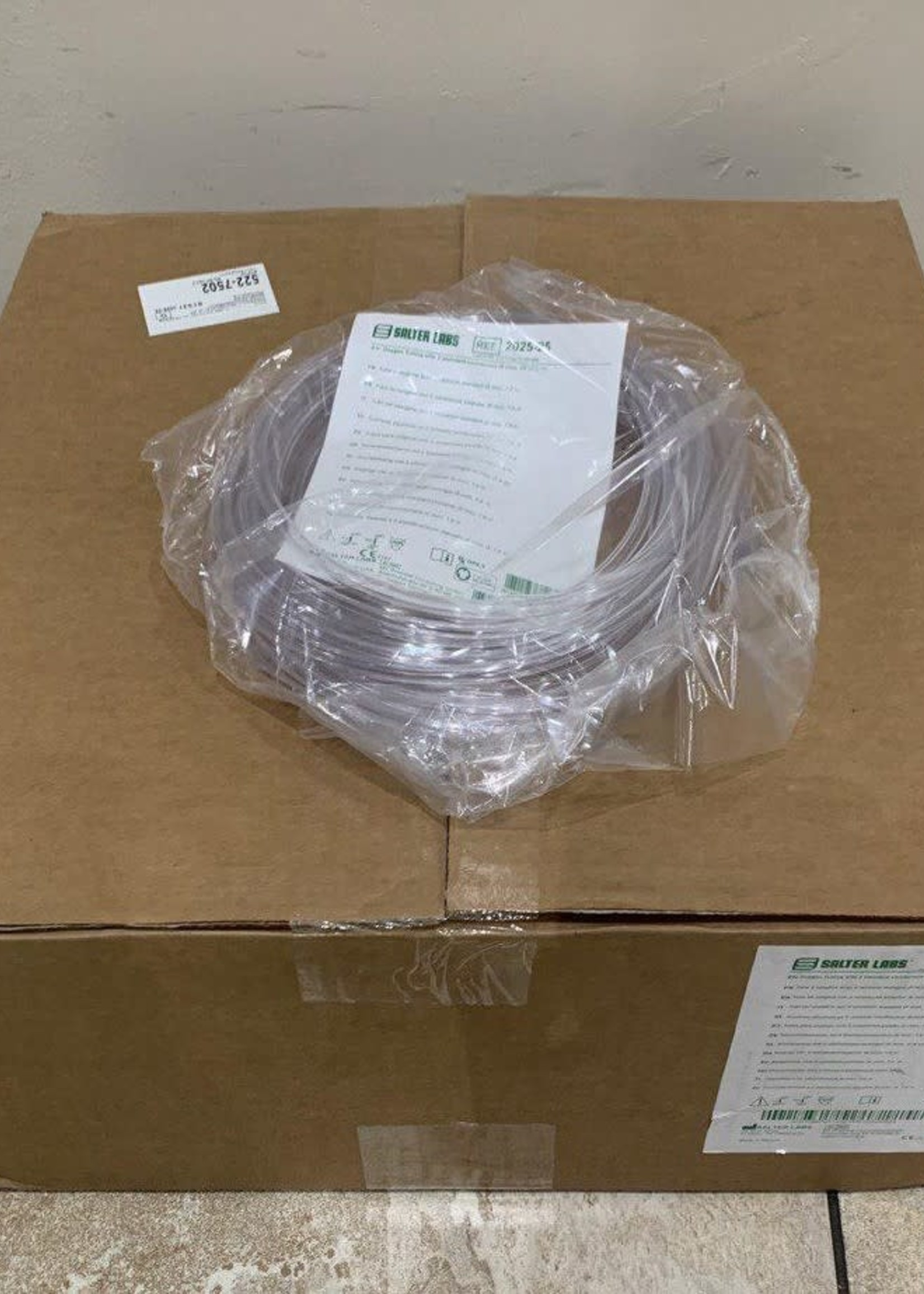 A Box of Oxygen Tubing With 2 Connectors