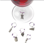 True Brands Winery Set of 6 Pewter Wine-Charms