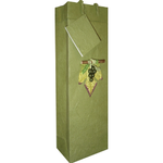 Bella Vita Olive Handmade Paper One bottle Wine Bag