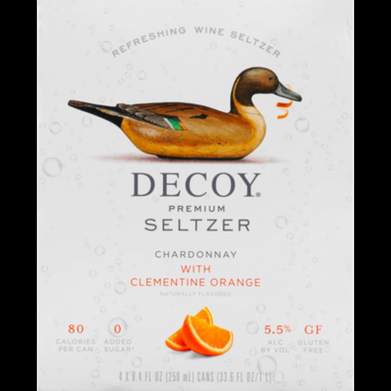 Decoy Primium Seltzer Decoy Wine Seltzer Chardonnay with Clementine Orange 4 Pack Cans  250ml  California