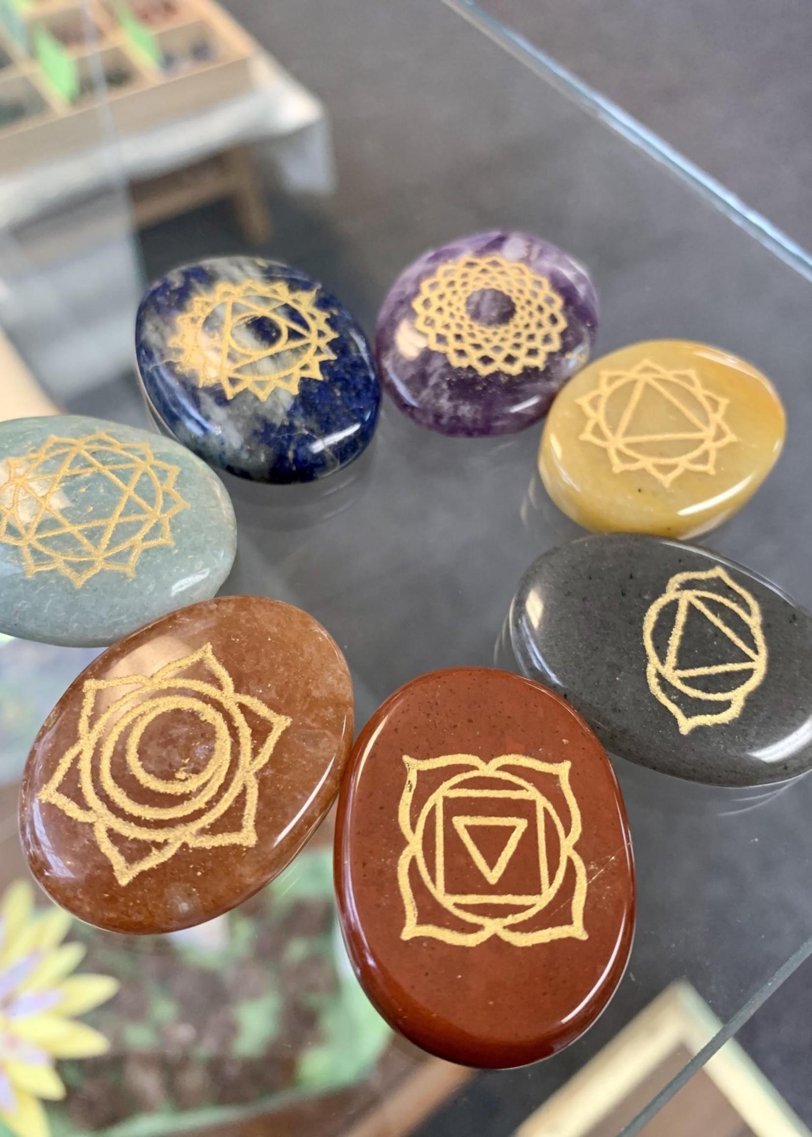 Gemstone Engraved Set - Seven Chakra