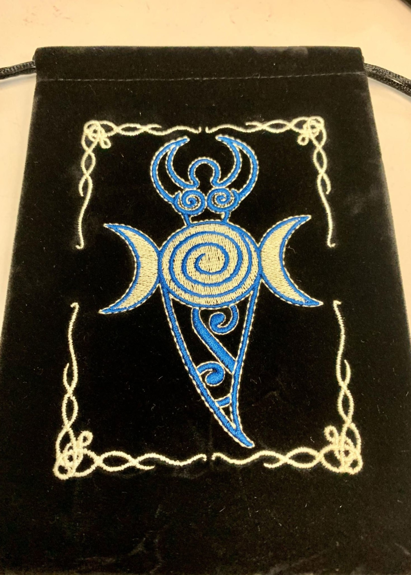 """Large Velvet Tarot Bags w/Embroidered Patch 5"""" X 7"""""""