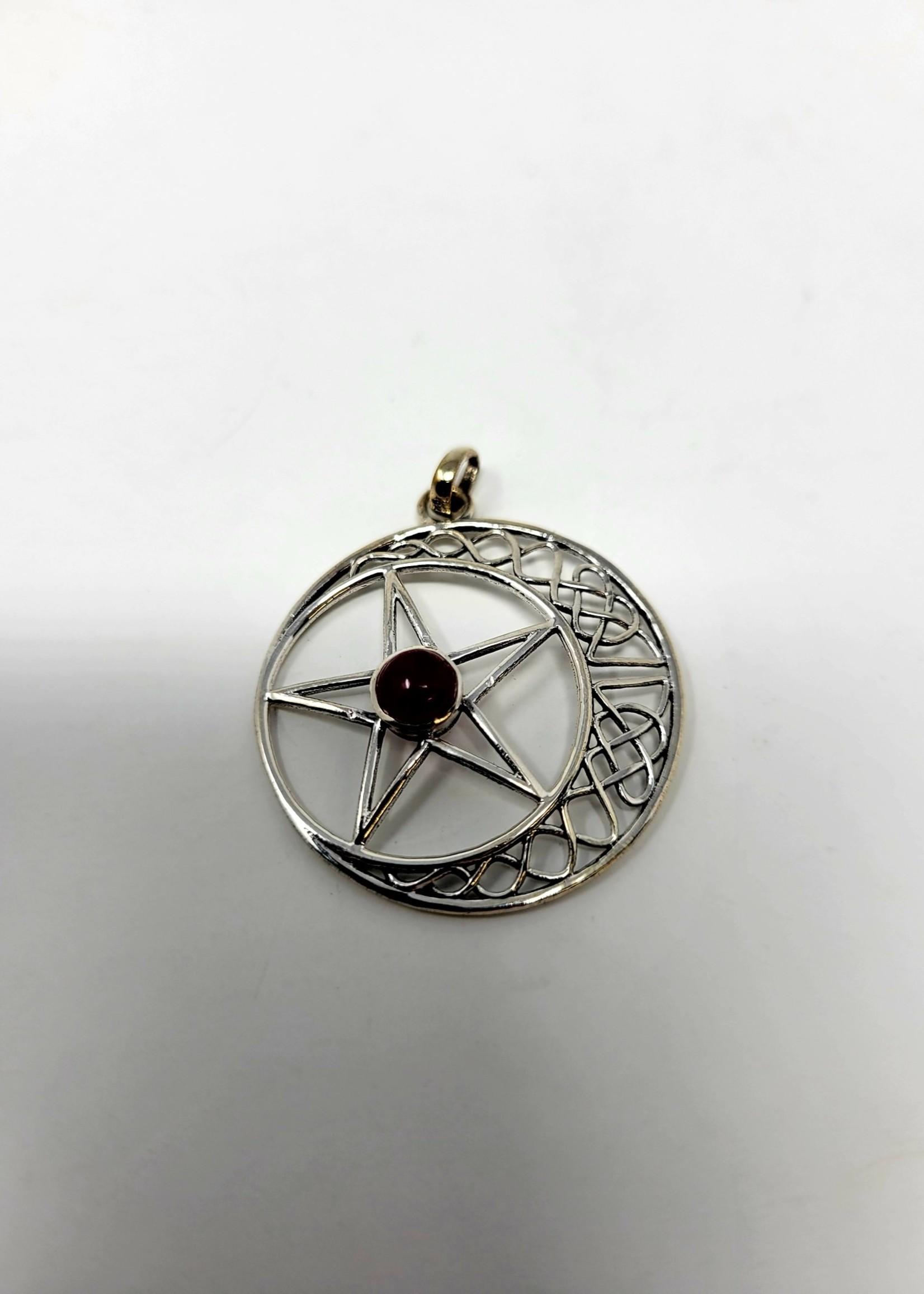 Pentacle Pendant Waxing Moon w/Assorted Gemstone