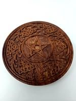 """Carved Wood Pentagram Altar Tile 6"""""""