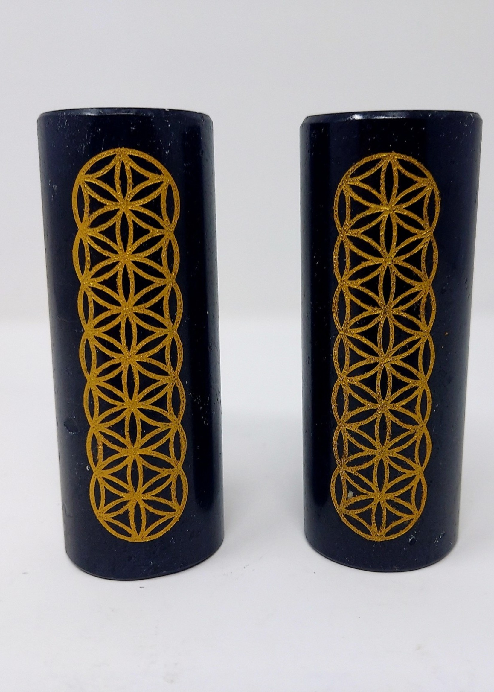 Black Torumaline Meditation Charger w/Seed of Life Engraving in Gold