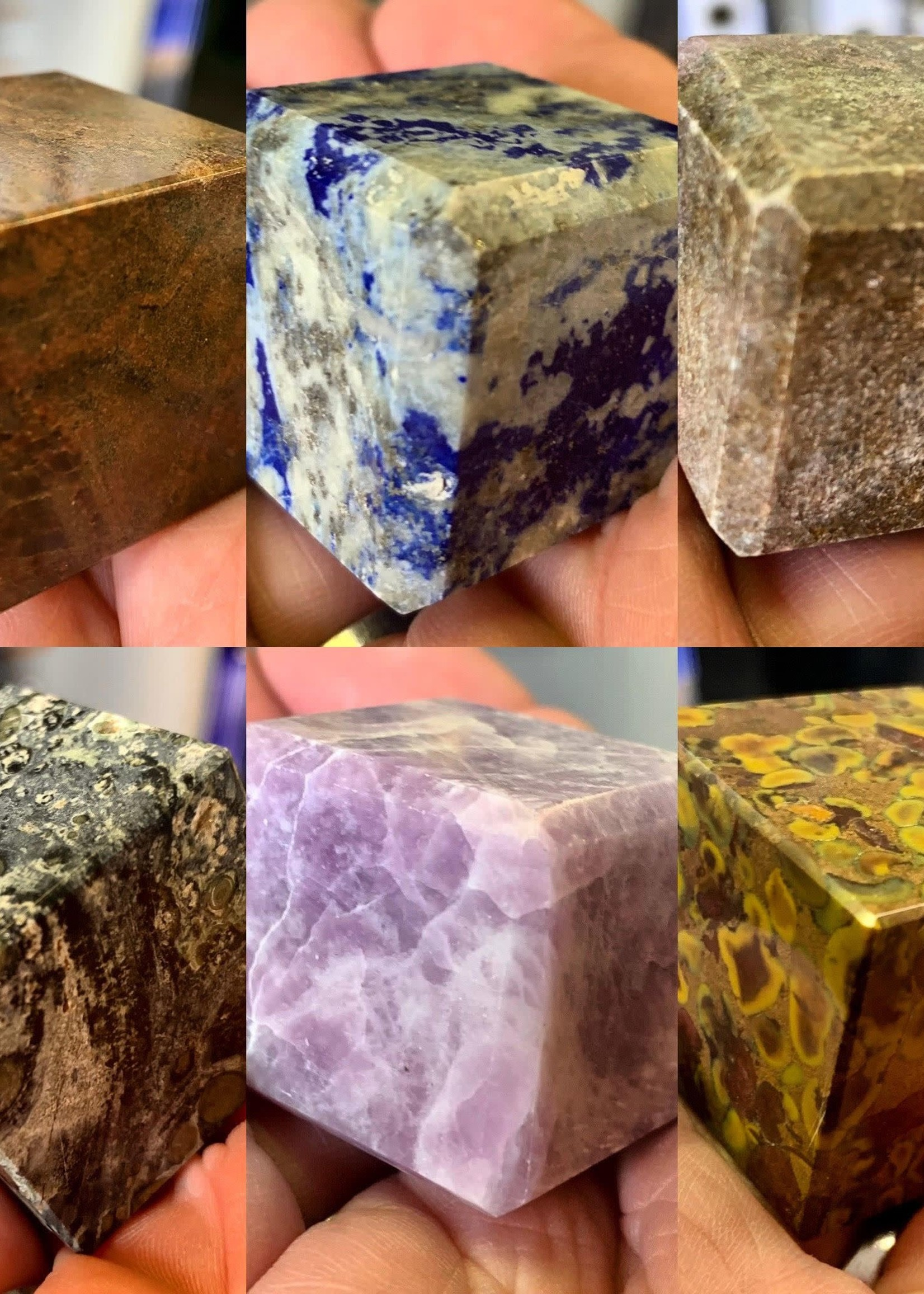 Hand Carved Gemstone Cubes Palm Size 25-30mm