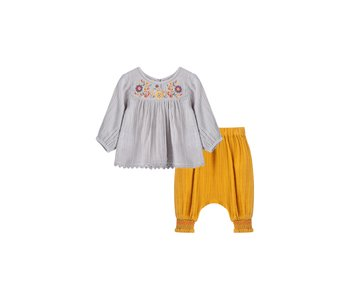 Gauzy Embroidered Pant Set