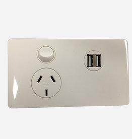 CMS CMS POWER OUTLET SINGLE N/W + DUAL 4A USB W/12VDC TERMINAL. J17.1UNW
