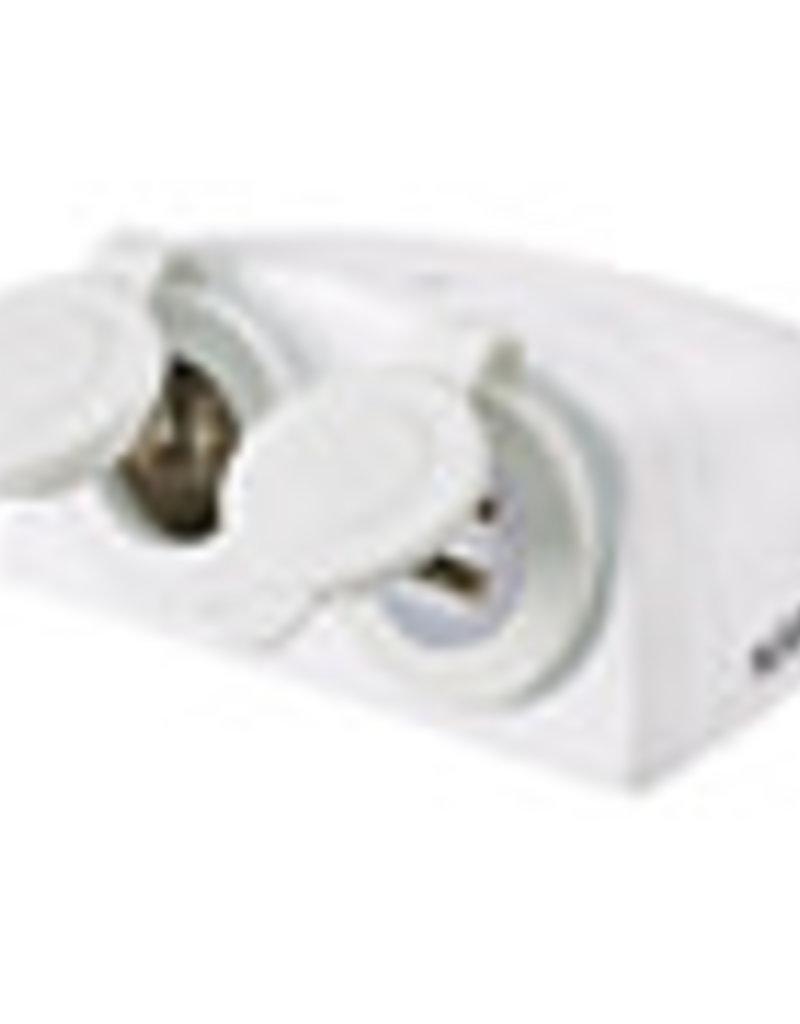 COASTTOCOAST ACCESSORY SOCKET WHITE SURFACE MOUNT TWIN ACCESSORY / DUAL USB H/D .81168WBL