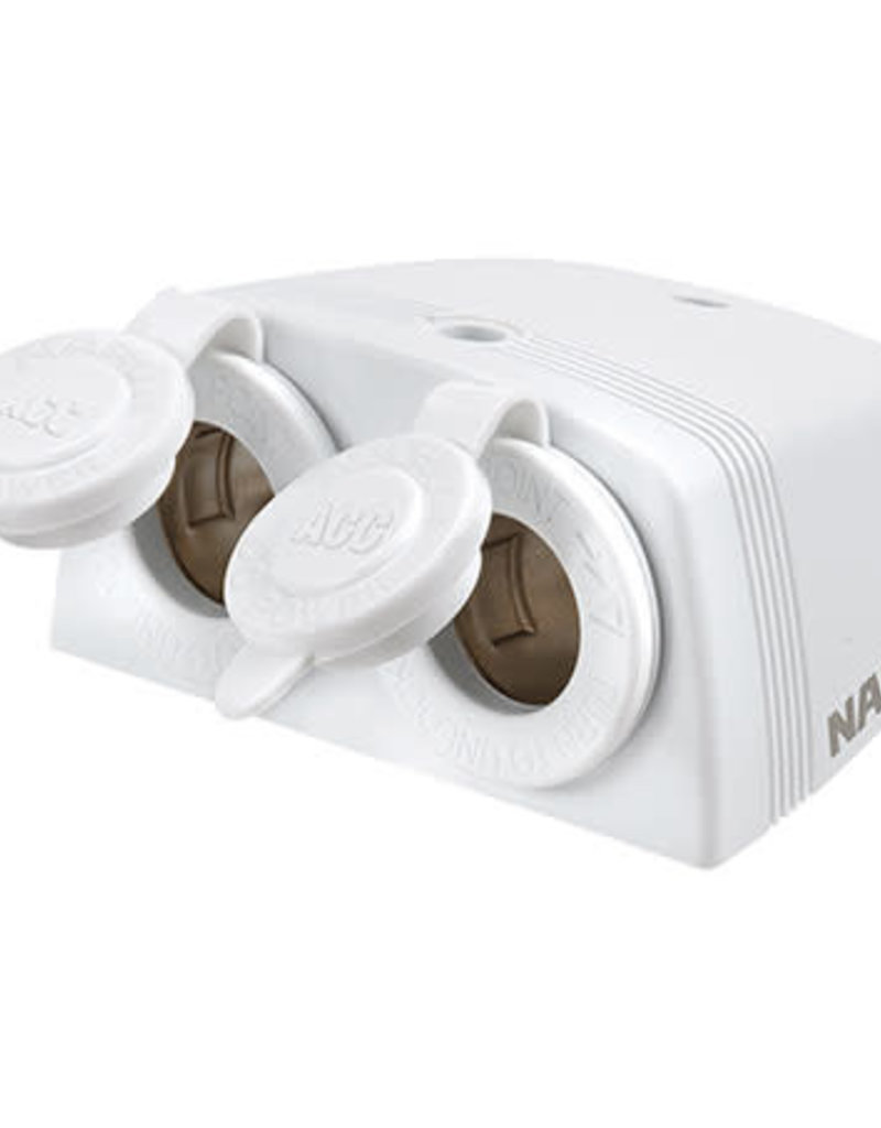 NARVA ACC SOCKET TWIN SURFACE MOUNT WHITE