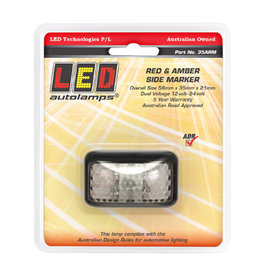 Side Marker Light Red/Amber LED 12 or 24V