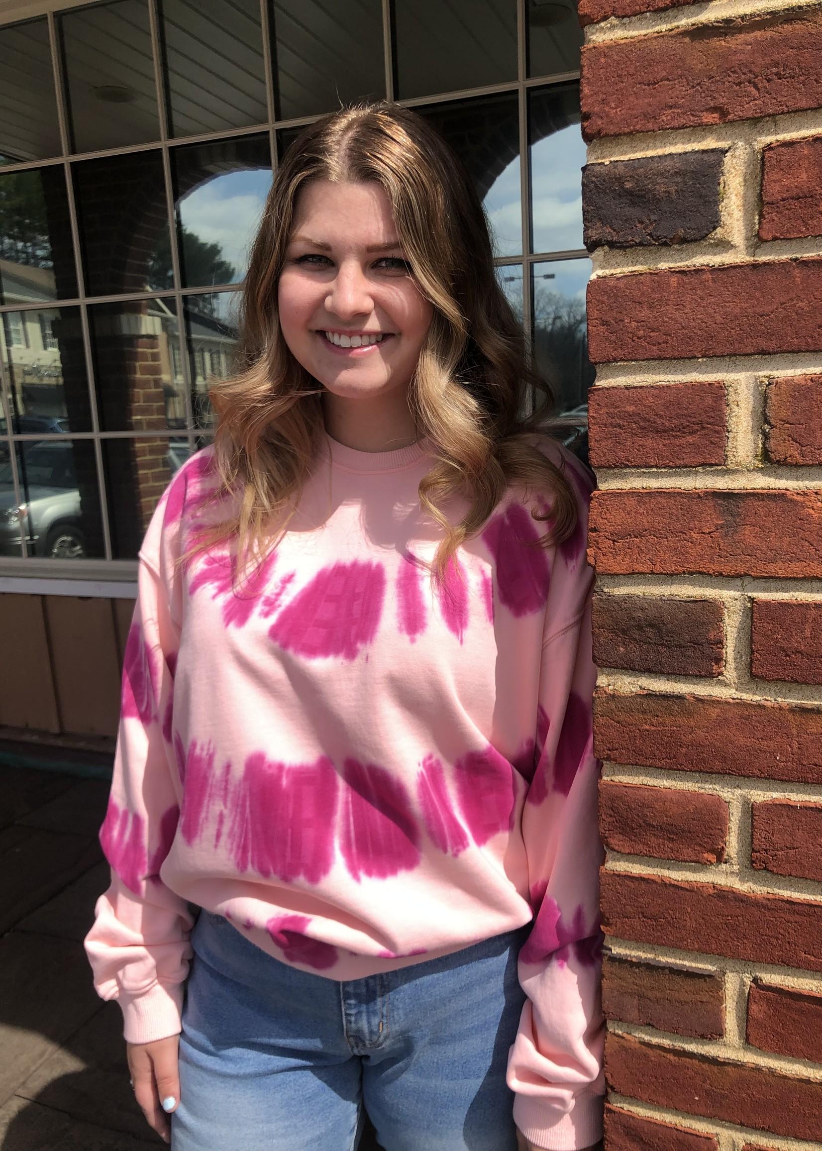 Fuchsia Pink Tie Dye Sweatshirt