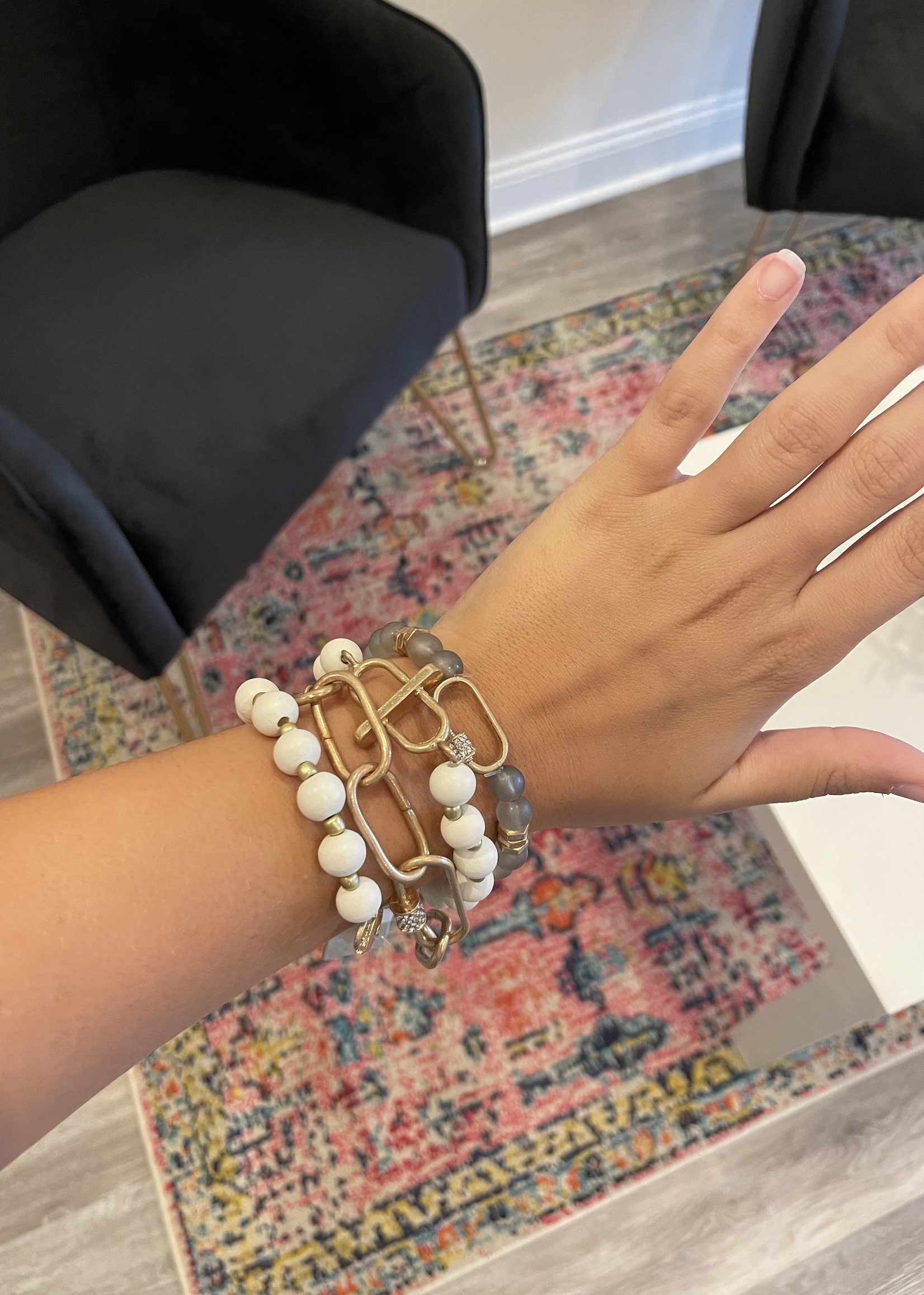 Wood and Glass Bead Bracelet