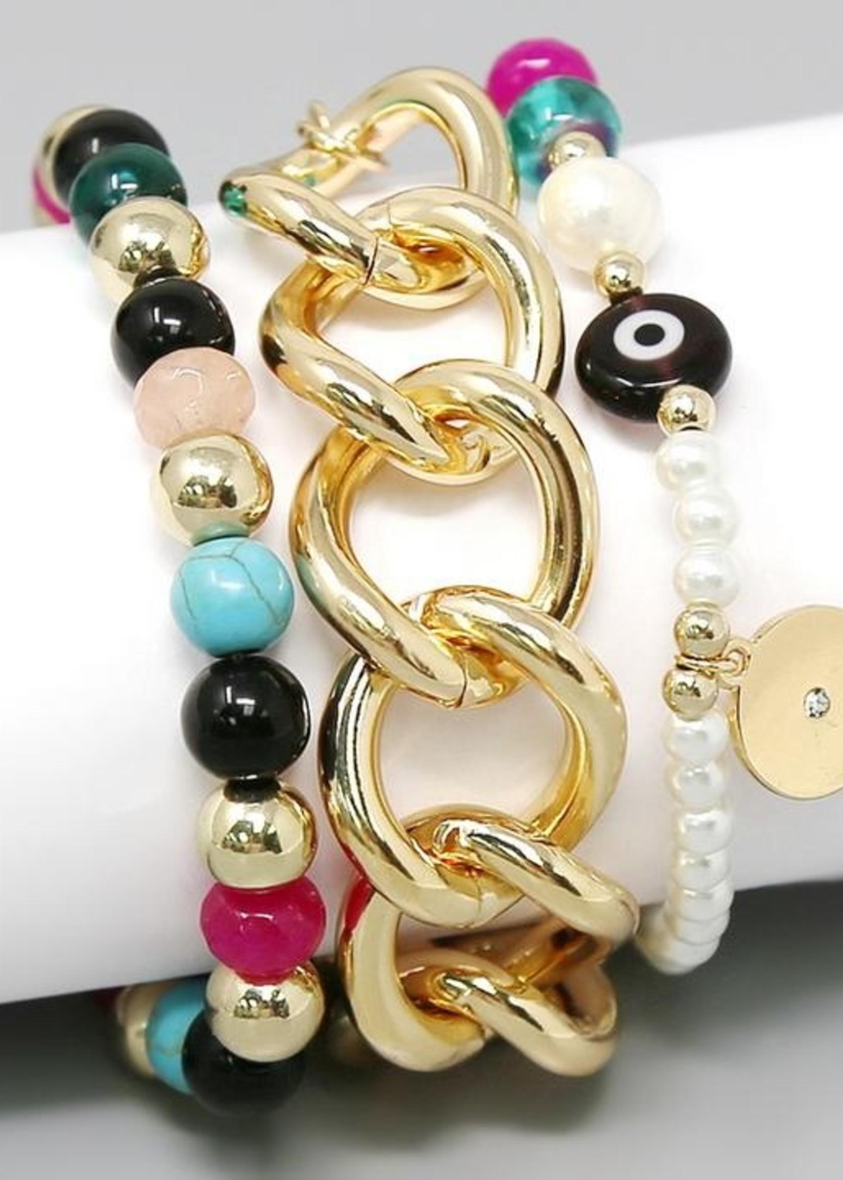 Stone, Glass, Pearl Linked Chain Bracelet Set