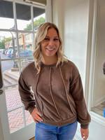 Brown Contrast Thread Sweatshirt
