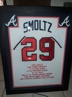 John Smoltz - Signed & Framed Atlanta Braves Stat Jersey, Certified by JSA