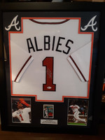 Ozzie Albies - Signed & Framed Atlanta Braves Home Jersey, Certified by Beckett
