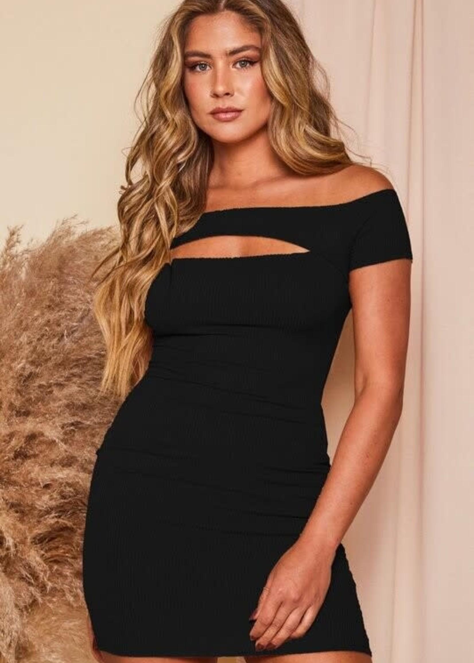 Off Shoulder Mini Dress Chest Cut