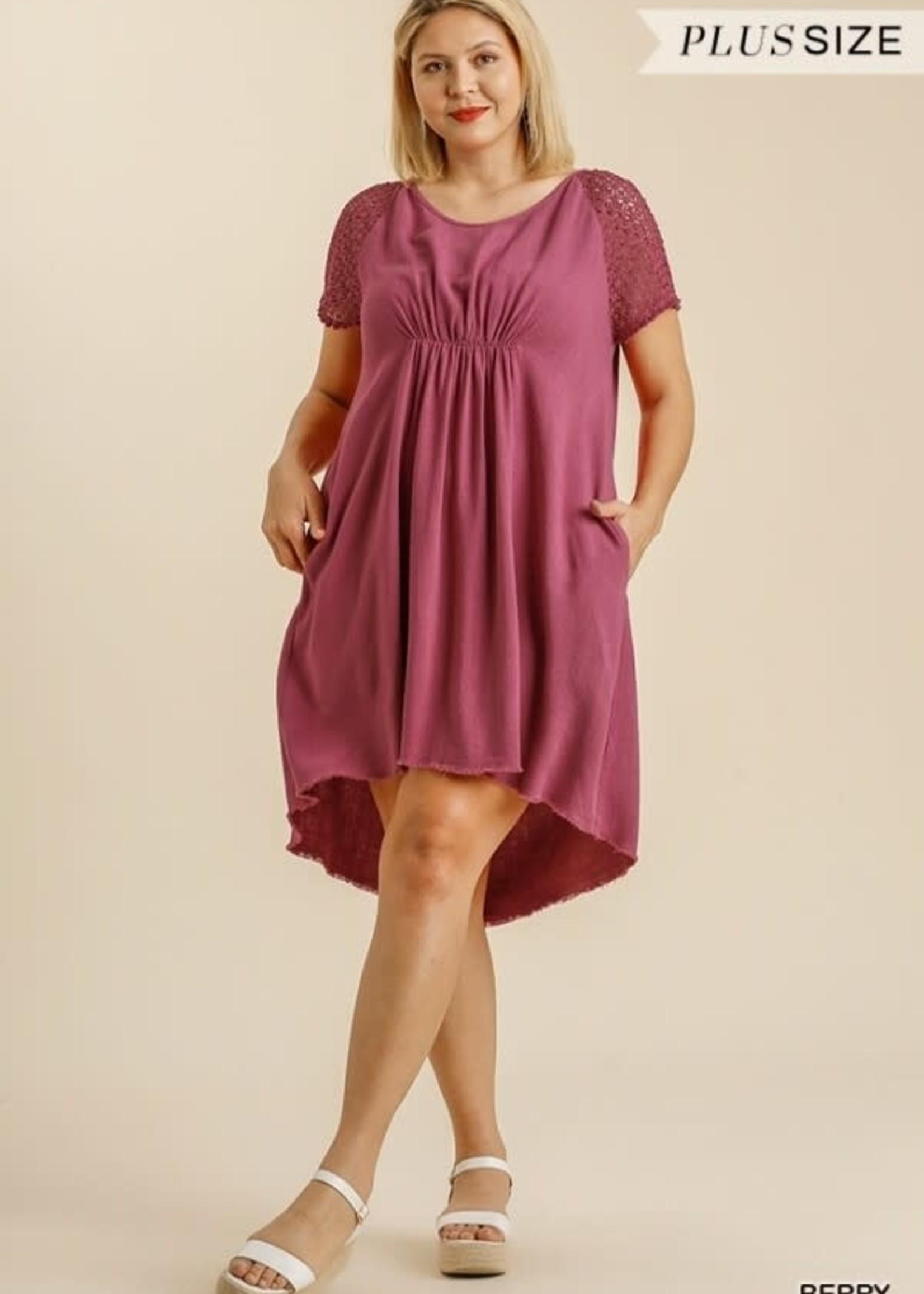 Umgee Crochet Detail Short Sleeve Round Neck Dress