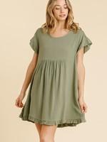 Umgee Sage Babydoll Dress w/ Crochet Trimmed Detail