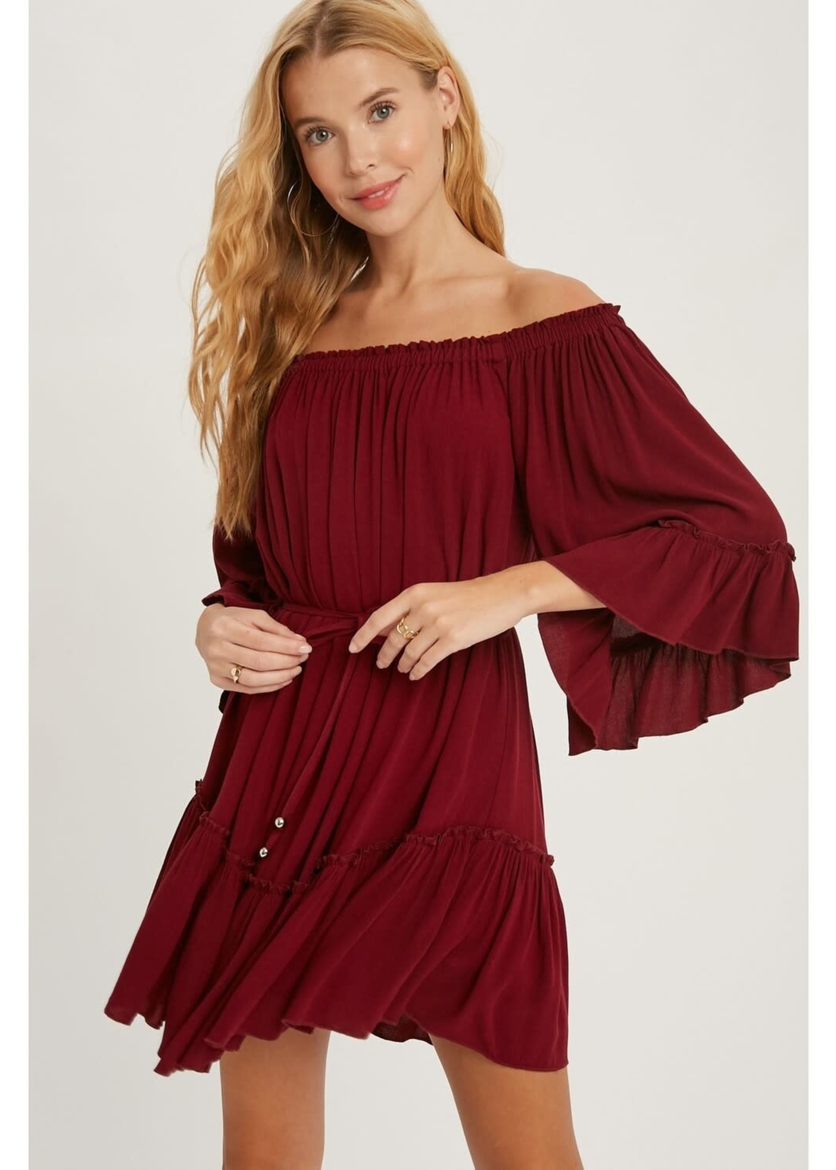 Ruffled Solid Boho Dress - Burgundy