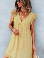 Yellow V-Neck Flower Dress