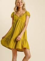 Umgee Short Sleeve V-Neck Dress w/ Crochet Trim