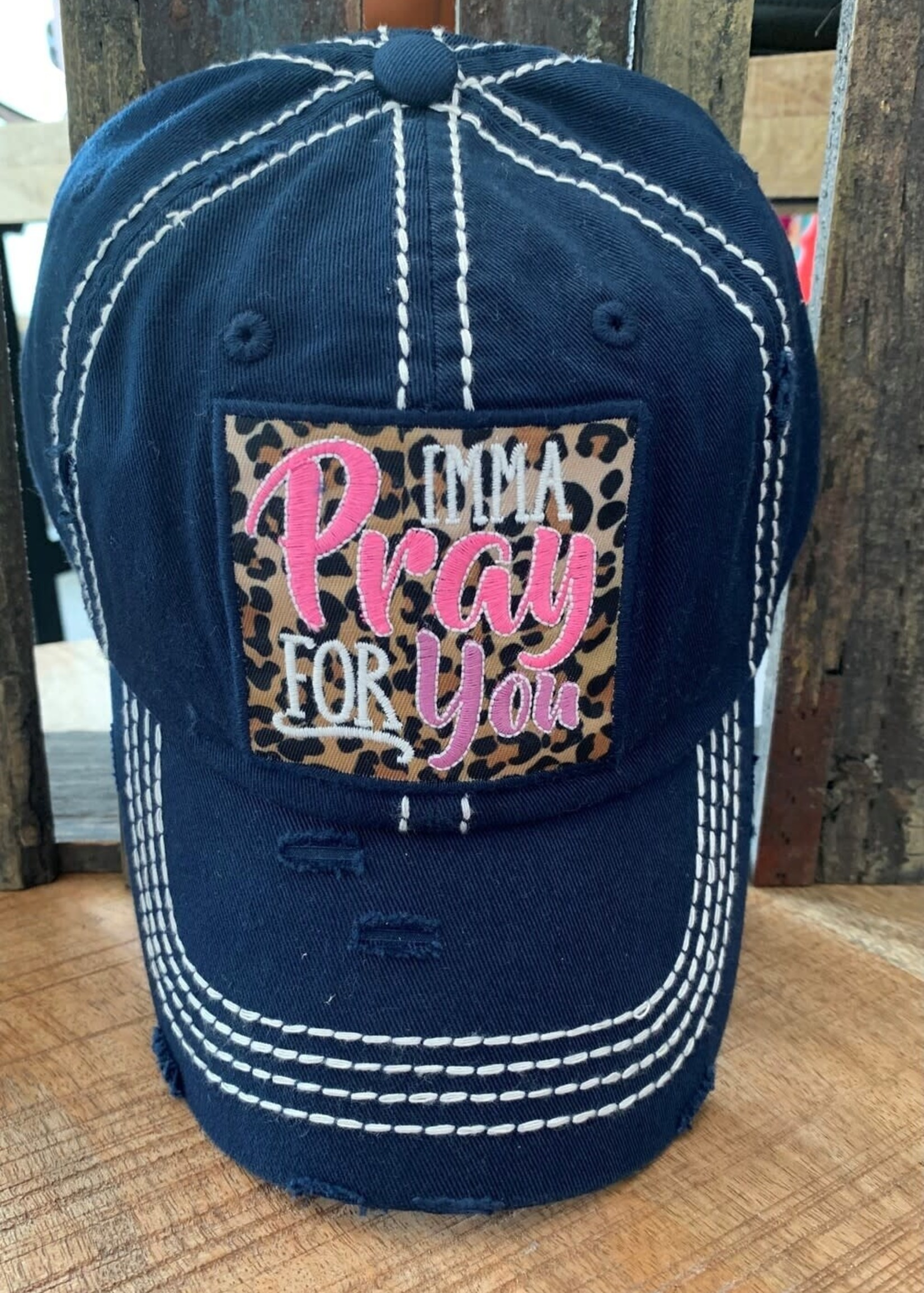 Navy Blue Imma Pray for You Embroidered Cap