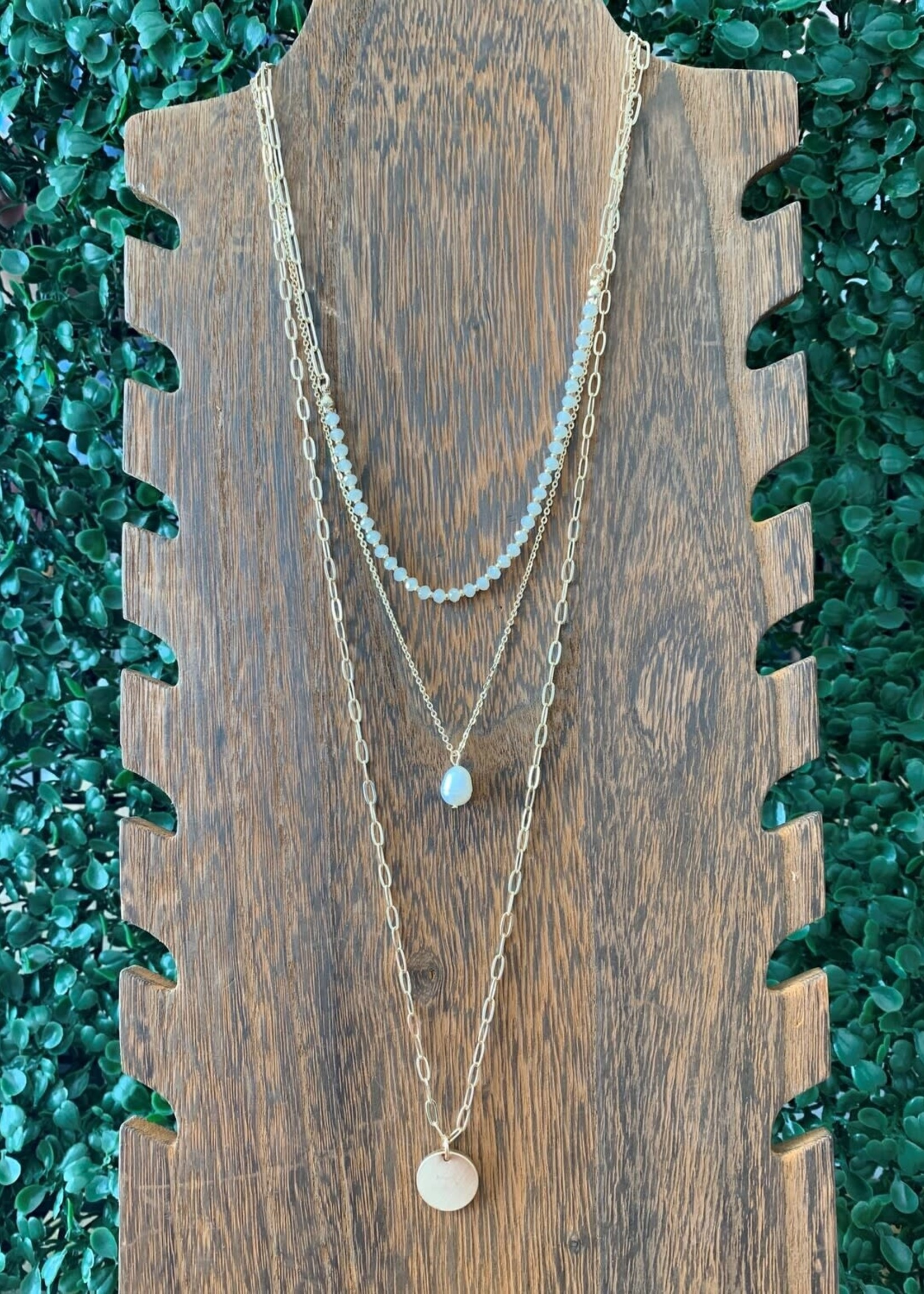 Gold Coin Pearl Crystal Necklace