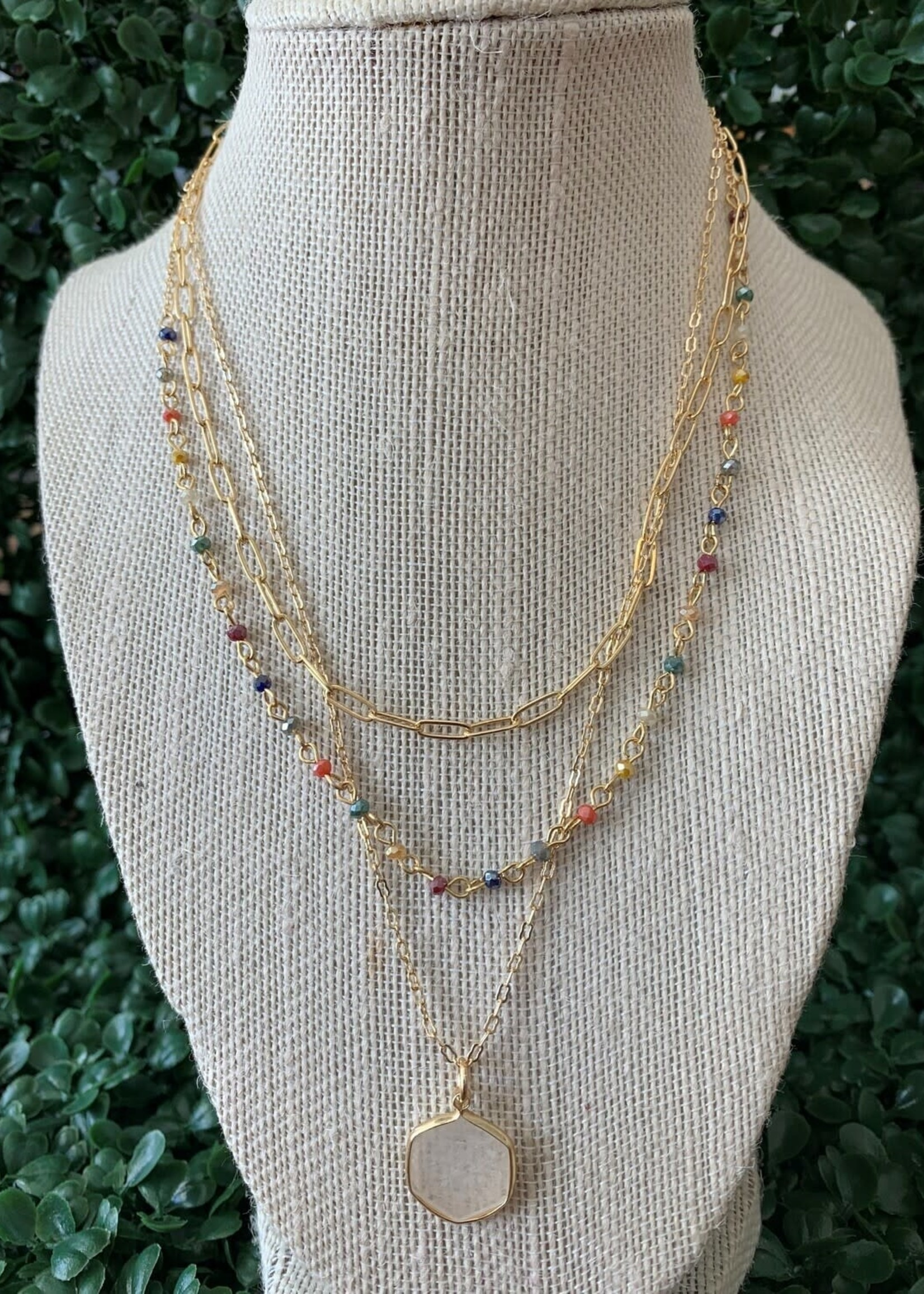 Triple Layered Crystal White Necklace