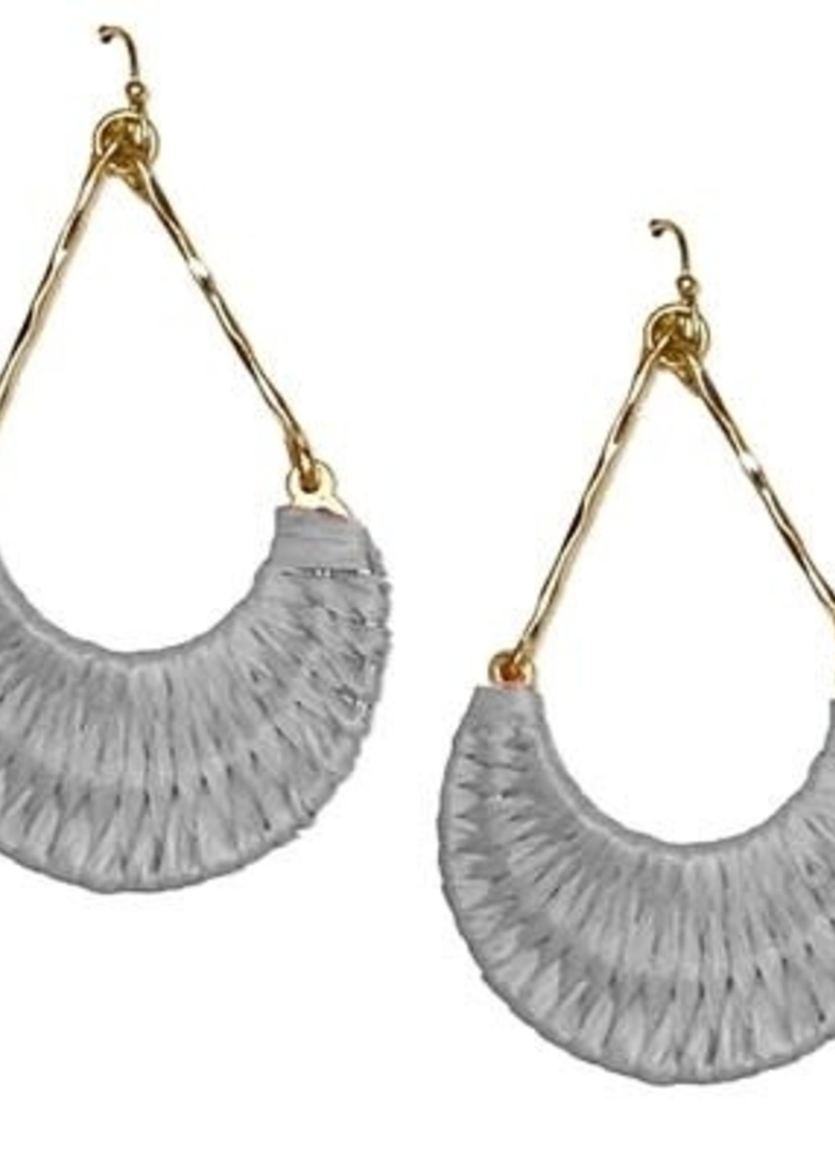 Gold Woven Rattan Teardrop Earrings