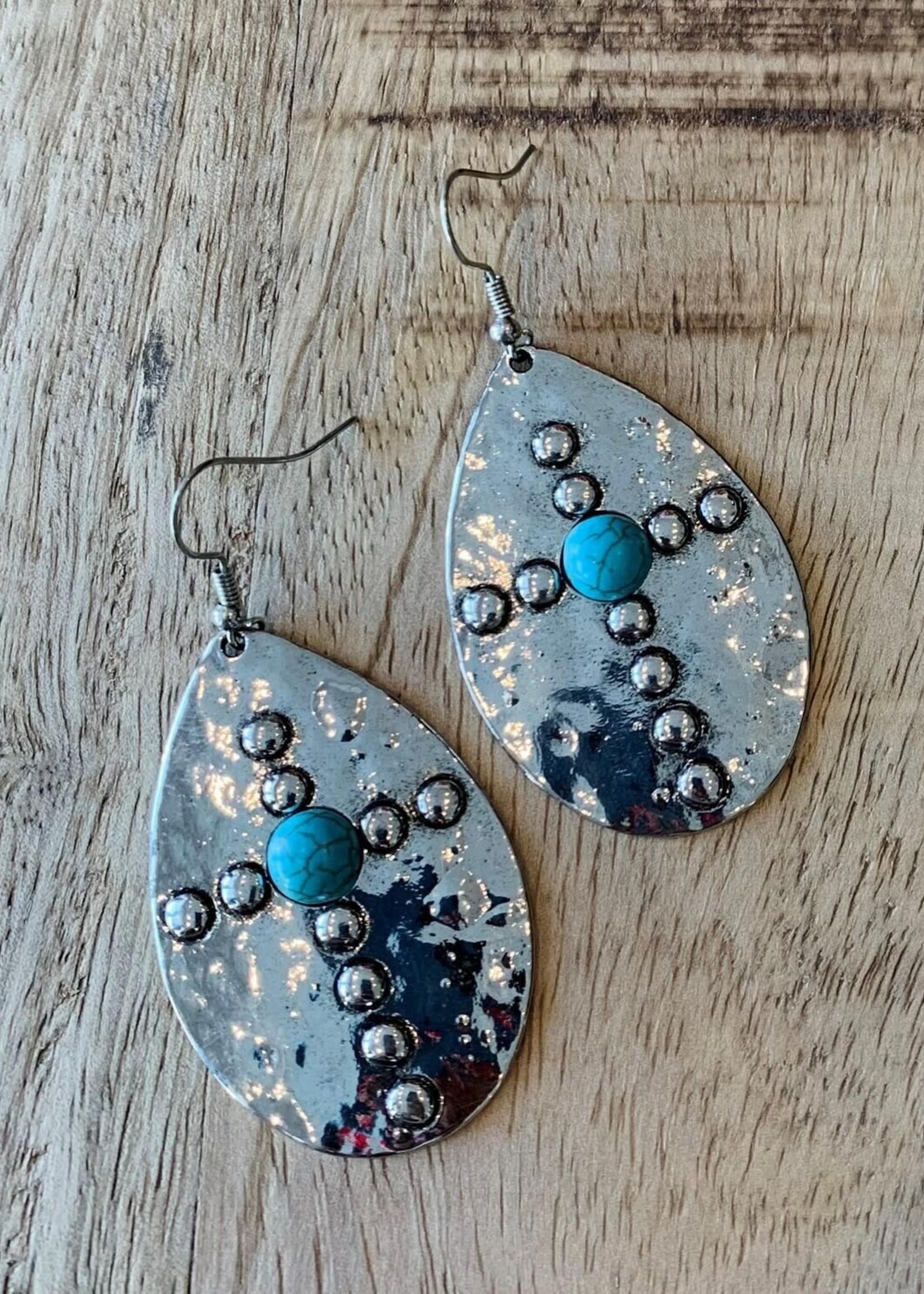 Teardrop Cross Turquoise Stone Earrings