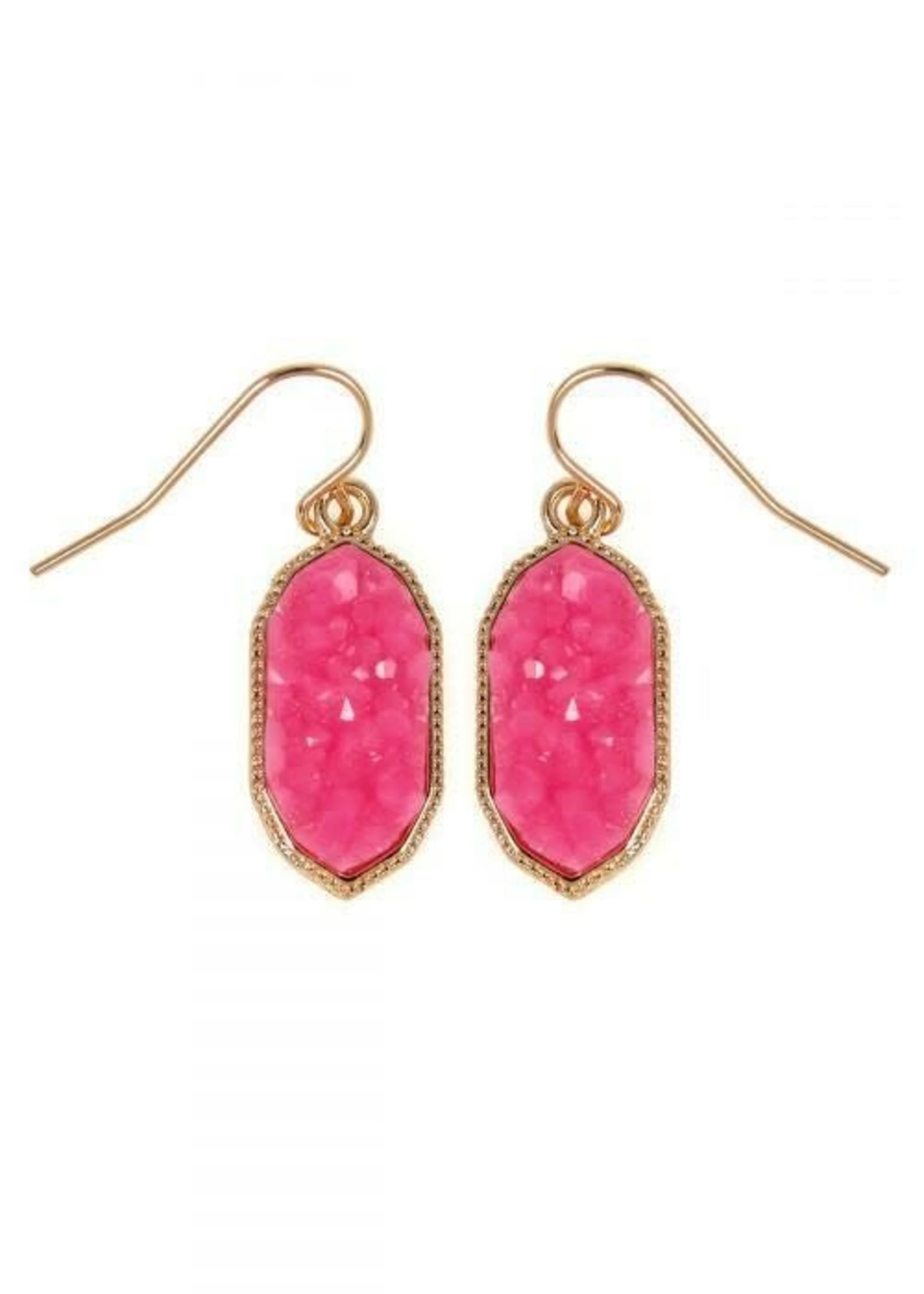 Pink Druzy Drop Earrings