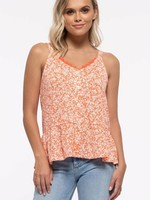 Buttoned Lace Top - Coral