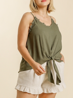Umgee Spaghetti Strap Frayed Front Tie-able Knot Top