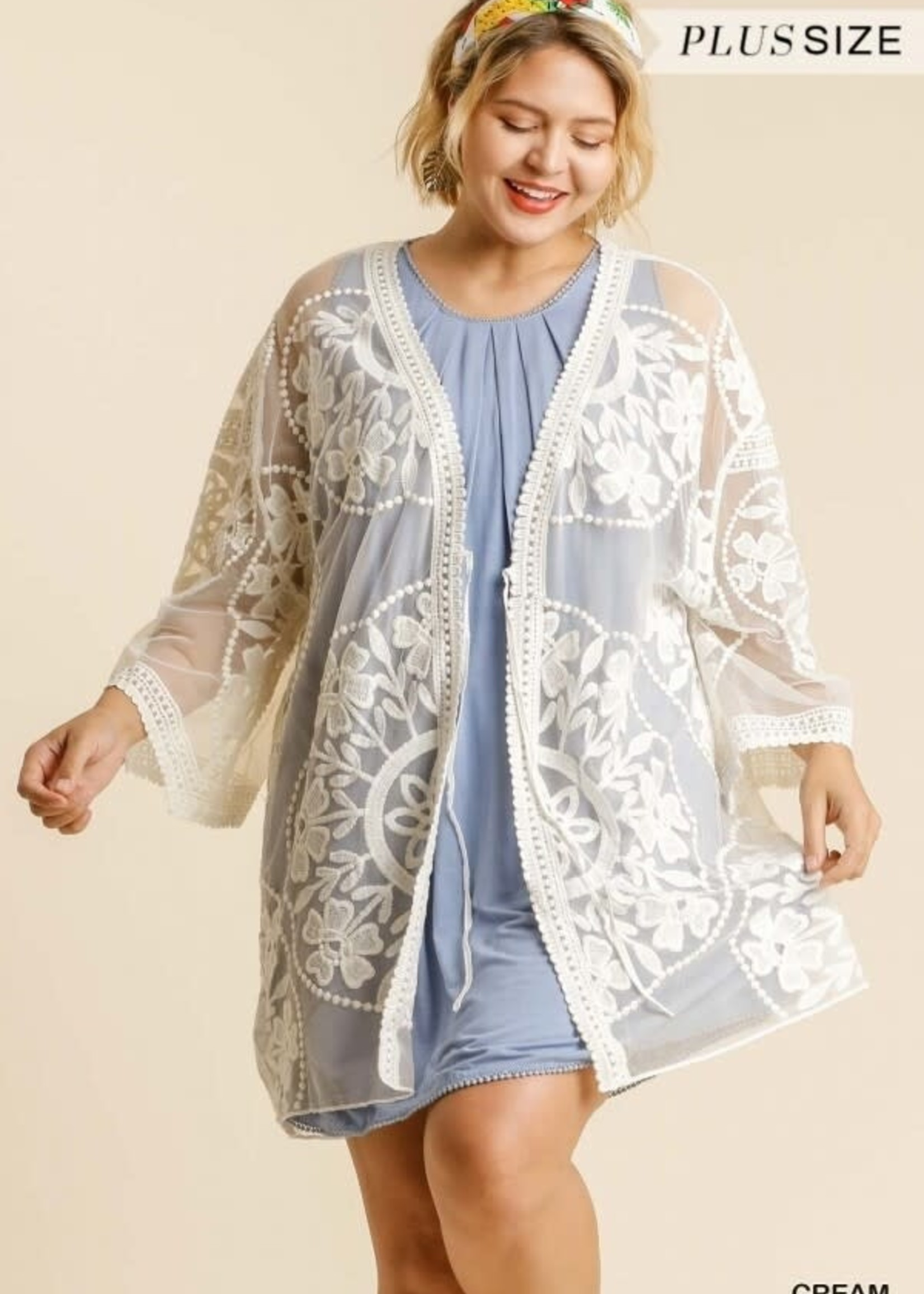 Umgee Floral Lace Kimono w/ Waist Tie