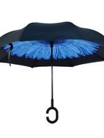 Deep Blue Flower Double Layer Inverted Umbrella