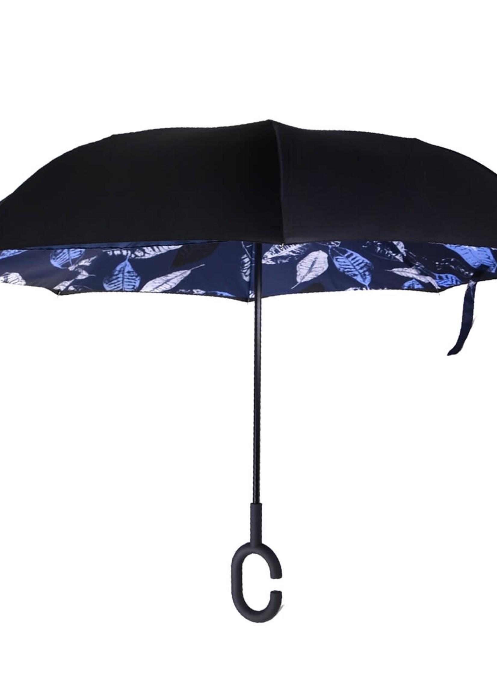 Blue Leaf Batik Double Layer Inverted Umbrella