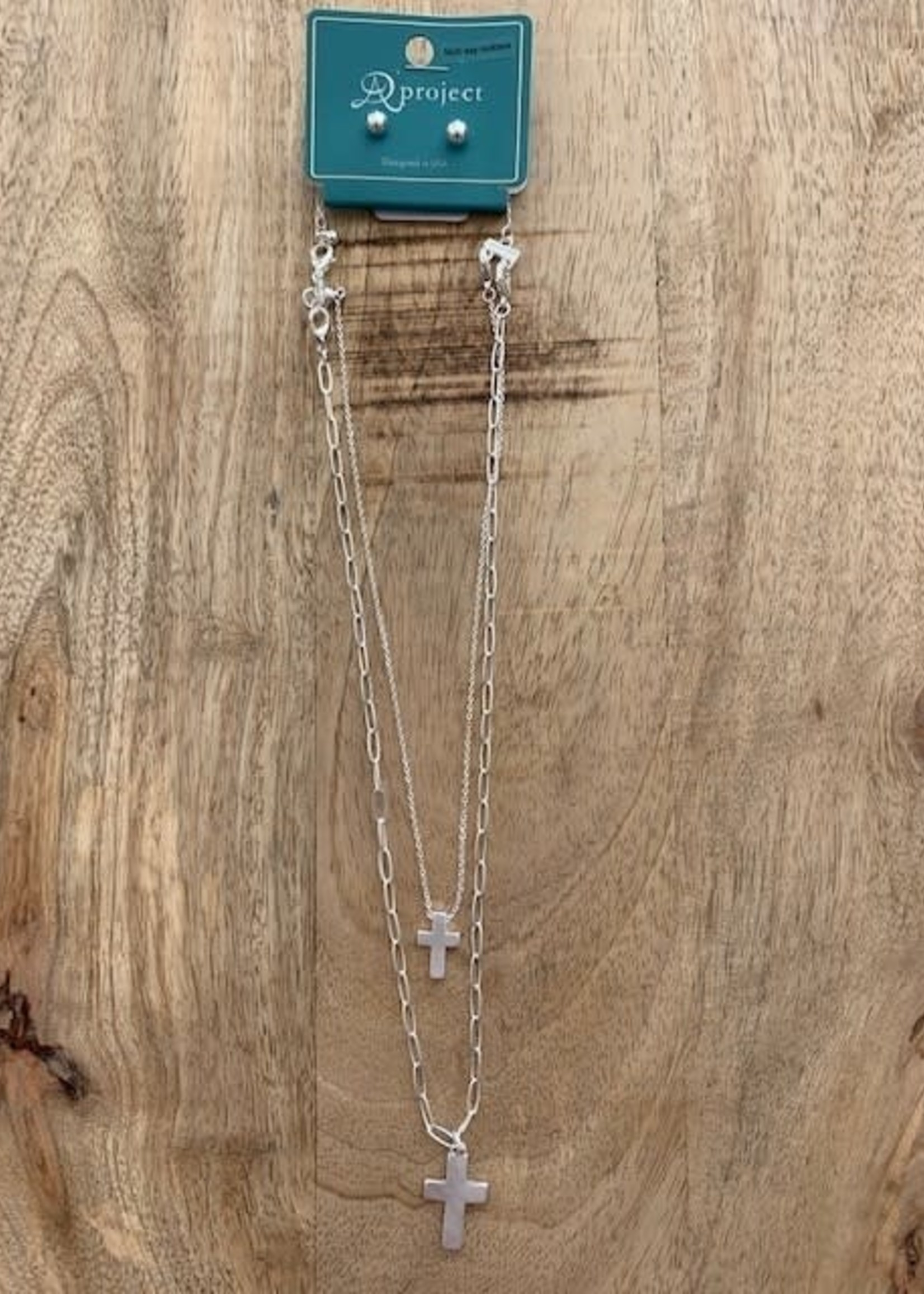 Silver Double Layer Cross Necklace