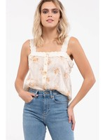 Square Neck Floral Top Ivory