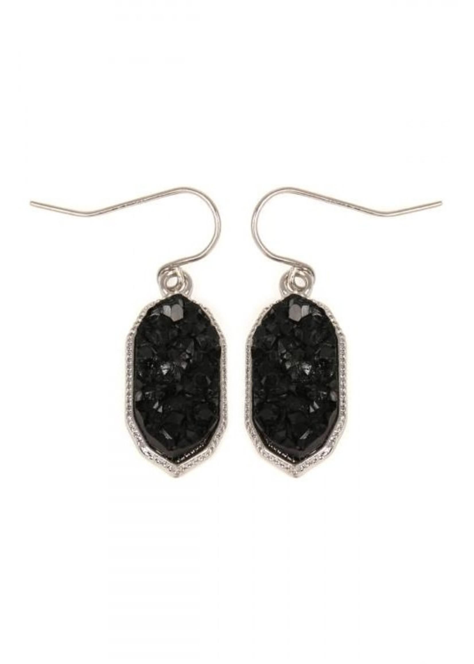 Apparel Candy Rhodium Black Druzy Drop Earrings