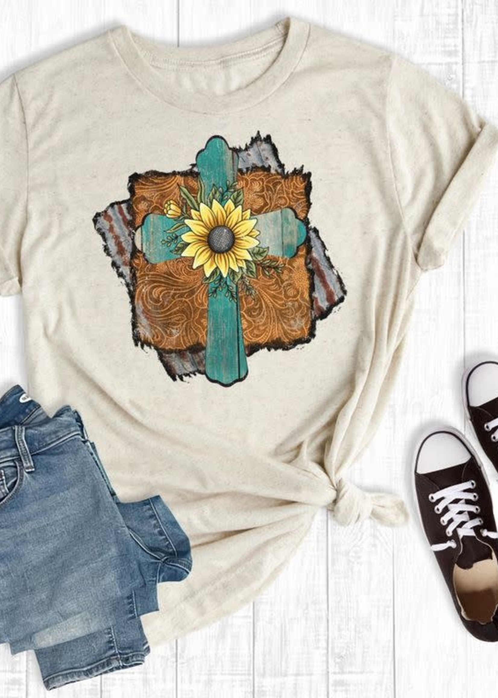 Rebel Rose Rustic Sunflower Cross